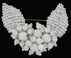 Vintage 1940s White Beaded Miriam Haskell Pin Brooch