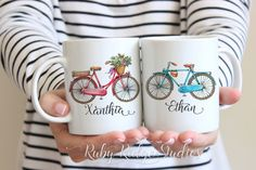 Personalised Name Couple Mugs, Bike Riding Couple Gift, Matching Coffee Mugs, Calligraphy Mug, Wedding Gift Mug, Custom Coffee Cup, Under 50