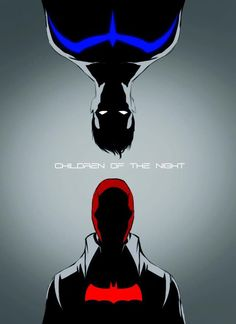 Nightwing (Richard Greyson) & Red Hood (Jason Todd) are the Bat's first two sons. // Jaydick