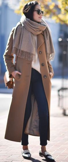 Longline Camel Coat Fall Street Style Inspo by 9to5 Chic
