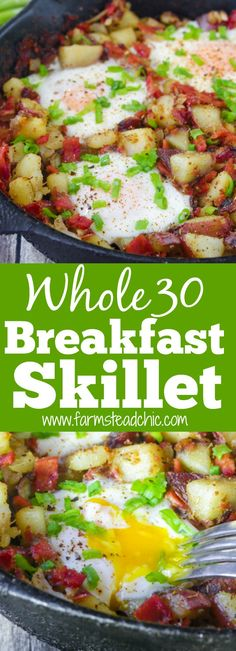 This Whole30 Breakfast Skillet is the perfect one-dish brunch! It's packed full of fresh veggies, herbs, eggs and bacon. Add it to your weekly rotation. #whole30 #cleaneating #farmsteadchic   www.farmsteadchic.com