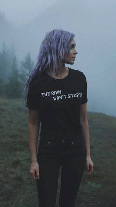 Women's cotton tee in black with white writing. Tahnee & Tory are wearing size small. // the rain won't stop us // shirt // teen // purple hair // teen // photo Mode Outfits, Grunge Outfits, Grunge Fashion, Trendy Outfits, Fashion Outfits, Womens Fashion, Grunge Hair, Soft Grunge, Looks Style