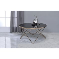 Acme Furniture Valora Black Glass and Champagne Metal Coffee End Table | Overstock.com Shopping - The Best Deals on Coffee, Sofa & End Tables