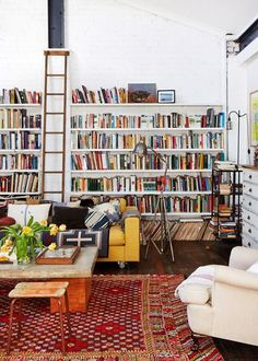 Lee Mathews and Family Home - The Design Files - Living room wall with ladder My Living Room, Home And Living, Living Spaces, Living Area, Library Ladder, Cozy Library, Library Wall, Attic Library, Mini Library