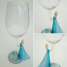 Elsa hand decorated sparkle character wine glass by Liannescrafts