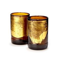 GOLD LEAF UPCYCLED BEER BOTTLE TUMBLER SET | Art Glass Glassware | UncommonGoods | selected by jamesdrygoods.com for the made in america: contemporary project | #madeinusa |