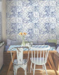 boho chic galerie wallpaper - a blue & white tile effect wallpaper for a relaxed, informal atmosphere #bohochic #boho #homedecor #kitchen #diningroom #wallpaper