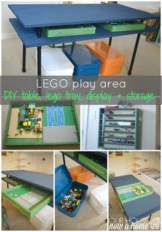 LEGO play area pin image, This shared boys bedroom needed to become a functional space for storage and play. Creating a DIY play table, DIY lego trays, storage, a display place for the creations and all of it organized helps this room function so well now!