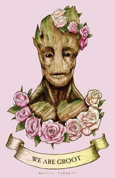 """An 11""""x17"""" print of Groot from the movie """"Guardians for the Galaxy""""   Now with 100% more flower crowns!"""