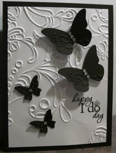 """Black and white wedding card.  Beautiful Wings embosslit, """"Word Play"""" stamp, elegant lines embossing folder.  (all Stampin' Up); inspired by www.juliemakescards.blogspot.com"""