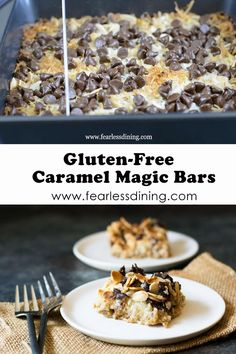 These delicious gluten free caramel magic bars are so good. These 7 layer bars make a great dessert anytime. Baked in an 8x8 pan, there are layers of gluten free graham cracker, coconut, chocolate, caramel, and more. fearlessdining Gluten Free Cookie Recipes, Gluten Free Cookies, Gluten Free Desserts, Gluten Free Graham Crackers, Magic Bars, Healty Dinner, Low Fat Yogurt, Dairy Free Options, Great Desserts