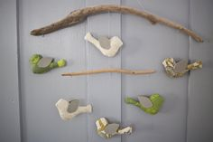 Hand Sewn Bird & Driftwood Mobile for the Nursery (Greens Grays Creams Pale Blues). $75.00, via Etsy SimpleMatilda