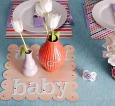 """Decorate mod mini vases with baby-themed rhinestone stickers. Set the mini vases on decorative paper embellished with colorful mini rhinestones and use glittery chipboard letters to spell out words such as """"bling,"""" """"baby,"""" and """"mom. Baby Shower Parties, Baby Shower Themes, Shower Ideas, Bling Baby Shower, Shower Baby, Baby Siting, Elephant Shower, Baby Shawer, Baby Shower Gender Reveal"""