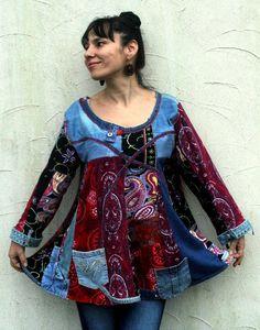 Patchwork denim recycled dress tunic hippie  boho by jamfashion