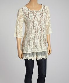 Look what I found on #zulily! Beige Lace Three-Quarter Sleeve Tunic - Women by Lady Noiz #zulilyfinds