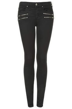 Tall MOTO Zipped Biker Leigh Jeans - Tall - Clothing
