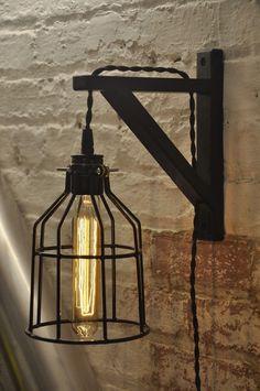 Ampoule de garde mur bougeoir Cage lampe industriel rétro Vintage en bois massif