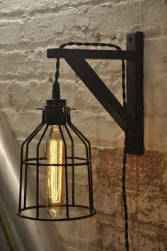 Bulb Guard Wall Sconce Cage Light Lamp Industrial Retro Vintage Solid Wood €33.39 p&p from USA
