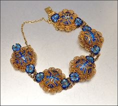 Art Deco Bracelet Chinese Silver Enamel Flower