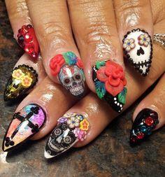 Sugar skull nails by Mindy Hardy