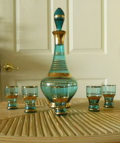 Vintage Bohemian Art Glass, Gilded Blue Decanter with 5 Glasses Carafe, Wine Decanter Set, Bohemian Art, Vintage Bohemian, Bohemian Style, Vintage Bar, Vintage Dishes, Middle Eastern Decor, Gold Gilding