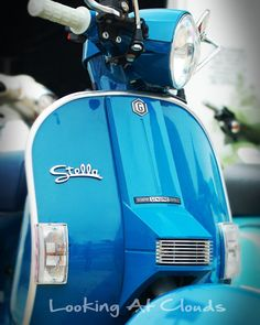 Slate Blue Stella Scooter retro modern vroooom by LookingAtClouds