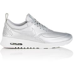 Nike Women's Women's Air Max Thea SE Sneakers ($49) ❤ liked on Polyvore featuring shoes, sneakers, nike, silver, low profile sneakers, silver metallic shoes, lacing sneakers, perforated sneakers and nike sneakers