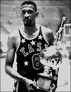 Bill Russell of the Boston Celtics was name MVP as the West beat the East at the 1963 NBA All-Star Game from Los Angeles, CA Basketball Games Online, Basketball Playoffs, Basketball Moves, Bill Russell, Indiana Pacers, All Stars, James Worthy, Basketball Court Layout, Thunder Nba