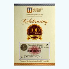 Get complete history of Indian one rupee note right from the first one rupee note that was issued on 30th November 1917 to the latest 2017 One Rs note. Apart from information, the product also comes with a real 2017 one rupee note as well; the perfect souvenir to celebrate 100 years of India's smallest denomination banknote!