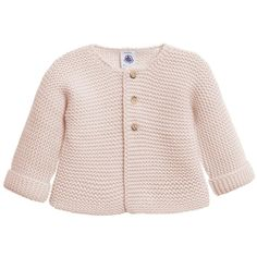 Petit Bateau Baby Girls Pink Wool Cotton Knittted Cardigan (£43) ❤ liked on Polyvore