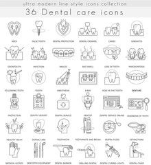 Vector Dental care ultra modern outline line icons for web and apps.