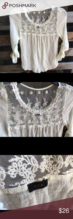 Final price Anthropologie E ( hanger ) M - Small Gorgeous lace detail shirt. Roll tab sleeves. Smoke and pet free home. Bundle discount 20% Anthropologie Tops