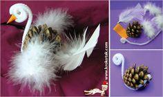 лебед от шишарка, занимавки за коледа, природни материали