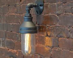 Steampunk Glass Sconce - Steampunk Sconce - Industrial Wall Light - Glass Light - Wall Sconce - ship lights - barn light - explosion proof