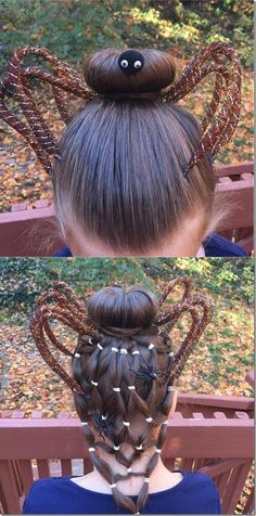 Awesome spider hairstyle! Love this for Halloween or crazy hair day, so cool