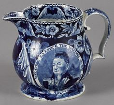 Historical blue Staffordshire Welcome Lafayette pitcher, 6 3/8'' h. - Price Estimate: $500 - $1000