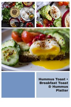 If you think #Humus is only for dipping, think again! This Everything Bagel Hummus toast is loaded with everything bagel seasoned hummus, poached eggs, avocados, fresh veggies and fruits. #Breakfast toast never tasted so good! #HummusRecipes #AvocadoToast #Vegetarian Healthy Meal Prep, Easy Healthy Recipes, Delicious Recipes, Real Food Recipes, Healthy Food, Easy Meals, Healthy Eating, Healthy Appetizers, Appetizer Recipes