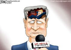 The Media has Donald Trump living rent free in their head to the point they've become mentally deranged. Political Cartoon by A.F. Branco ©2017