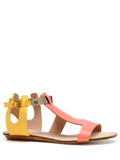 Rebecca Minkoff Bardot Sandals | Perfect flats of salmon, yellow and gold with an adjustable ankle strap