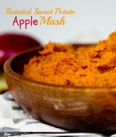Roasted Sweet Potato and Apple Mash. 2 ingredients; a paleo and vegan side dish (via Katie Did)