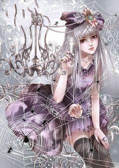 ✮ ANIME ART ✮ gothic. . .dress. . .roses. .. hat. . .chandelier. . .silver hair. . .spiderweb. . .spiders. . .elegant. . .kawaii
