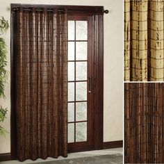 Natural Window Decor Using Bamboo Blinds: Bamboo Blinds Patio Door Grommet Panels For Traditional Window Decor
