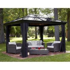 This 10 X 12 Hardtop Gazebo Tent Has A Metal Frame And Durable Polycarbonate Roof The Canopy Is Screened With Mosquito Netting