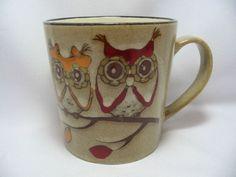 Mr-and-Mrs-Owl-Coffee-Mug-Cup-16-oz-Stoneware-Beige-Cute-New