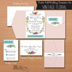 Vintage Floral Pocket Fold Wedding Invitation Set with Reply Card, Pocket Wedding Invitations