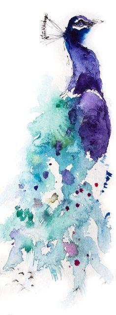 JEN BUCKLEY ART signed PRINT of my original PEACOCK watercolour 11X4 ins - Jen Buckley Art - 1