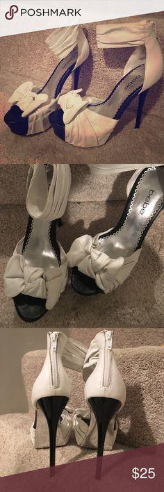 bebe • stilleto heels sky high bebe stilleto white leather bow heels! bebe Shoes Heels