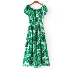 Fashion Leaves Printed Color Block Off the Shoulder Single Breasted... (115 PEN) ❤ liked on Polyvore featuring dresses, green off the shoulder dress, off shoulder short dress, off the shoulder day dress, short green dress and short maxi dress