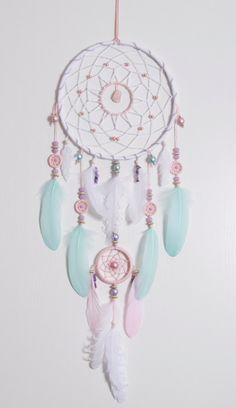 Grande rose menthe Dream Catcher par MagicalSweetDreams sur Etsy