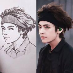 Kpop Drawings, Pencil Art Drawings, Cool Art Drawings, Art Drawings Sketches, Fanart Bts, Taehyung Fanart, Sketch Inspiration, Korean Art, Bts Chibi